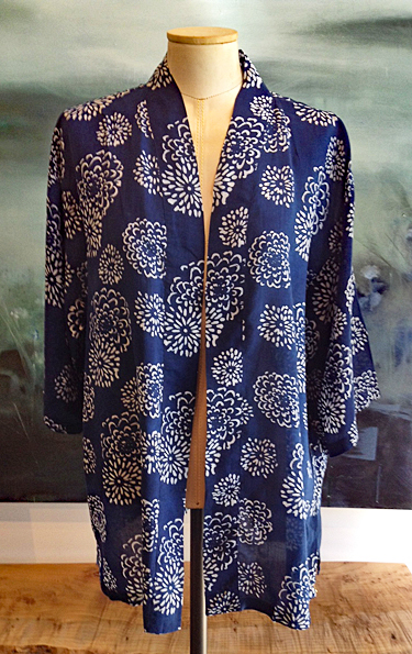 DAVID.BALI: Hippari Jacket, Indigo and White Mums